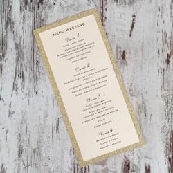 Złote menu brokatowe