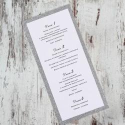 Srebrne menu brokatowe