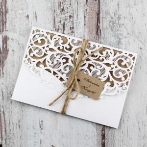 Białe, rustykalne, eko zaproszenia ślubne w kształcie koperty