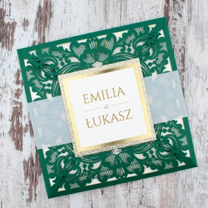 Zielone zaproszenia ślubne z aplikacją i brokatem