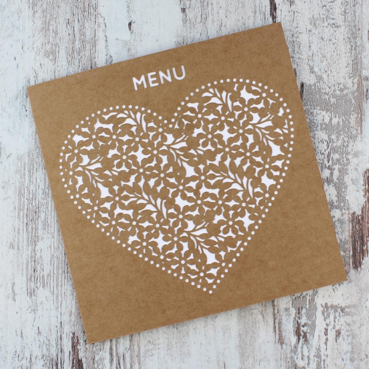 Rustykalne menu weselne, wycinane laserowo